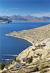 View of Inca ruins of Pilko Kaina on Isla del Sol (Island of the Sun), Lake Titicaca, Bolivia, South America