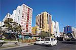 Skyscrapers and traffic along Avenida 16 de Julio (El Prado), La Paz, Bolivia, South America