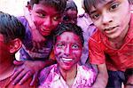 Children at Holi celebration in Goverdan, Uttar Pradesh, India, Asia