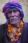 Man celebrating Holi festival, Nandgaon, Uttar Pradesh, India, Asia