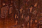 Horned anthropomorphs holding shields, Formative Period Petroglyphs, Utah Scenic Byway 279, Potash Road, Moab, Utah, United States of America, North America