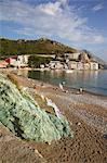 View of beach, Becici, Budva Bay, Montenegro, Europe