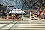 Two Eurostar trains await departure at St. Pancras International, London, England, United Kingdom, Europe