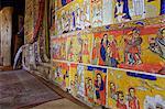 Murals in the interior of the 16th century Christian Monastery and church of Azuwa Maryam, Zege Peninsula, Lake Tana, Bahir Dar, Ethiopia, Africa