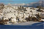 Overview of Homes and Hillside in Winter, near Villingen-Schwenningen, Baden-Wuerttemberg, Germany