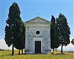 Historic Chapel of Vitaleta in Summer, San Quirico d'Orcia, Province of Siena, Tuscany, Italy