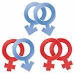 Male and female symbols. Vector illustration. Gay, lesbian