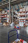 Empty basket on hand pallet truck in warehouse