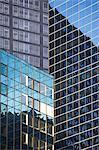 Buildings reflected in urban skyscrapers