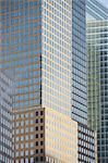 Urban skyscrapers on city street