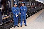 Stewards on the Venice Simplon Orient Express train, having a short stop at Innsbruck, Austria