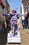 United Kingdom, England, North Yorkshire, York. Street Performer in Stonegate.