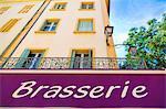 France, Provence, Orange, Brasserie sign
