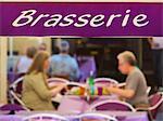 France, Provence, Orange, Brasserie, couple dining