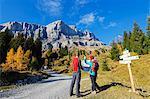 Europe, France, French Alps, Haute Savoie, Chamonix, hiking through autumn colours in Servoz, MR