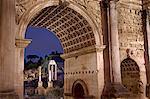 Rome, Lazio, Italy, Detail of Septimus Severus Arch at the Foro Romano. Unesco