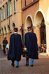 Modena, Emilia Romagna, Italy, Policeman walking in the historical centre
