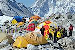 Asia, Nepal, Himalayas, Sagarmatha National Park, Solu Khumbu Everest Region, Indian climbers praying for a safe expedition at Everest base camp