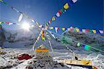 Asia, Nepal, Himalayas, Sagarmatha National Park, Solu Khumbu Everest Region, tents and prayer flags at Everest Base Camp