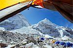 Asia, Nepal, Himalayas, Sagarmatha National Park, Solu Khumbu Everest Region, view through tent of the Khumbu Ice Fall at Everest Base Camp