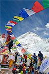 Asia, Nepal, Himalayas, Sagarmatha National Park, Solu Khumbu Everest Region, a puja ceremony at Everest Base Camp