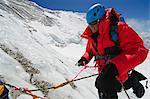 Asia, Nepal, Himalayas, Sagarmatha National Park, Solu Khumbu Everest Region, climber on the Lhotse Face
