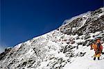 Asia, Nepal, Himalayas, Sagarmatha National Park, Solu Khumbu Everest Region, climbers on the Geneva Spur