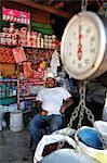 Man sat in his shop in Esteli, Nicaragua, Central America