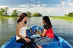 Girls on a Boat tour, Lago Nicaragua, Granada, Nicaragua, Central America