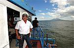 Captain on his boat, Lago de Nicaragua, Nicaragua