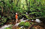 Photographer Wading in creek at Parque Nacional de Amistad near Boquete, Panama, Central America.