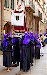 Santiago de Compostela, Galicia, Northern Spain, Nazarenos carrying statue during Semana Santa processions