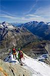 Europe, Switzerland, Swiss Alps, Valais, Zermatt, climber on The Matterhorn , 4478m,