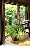 Japanese style room facing a garden