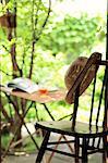 Hat on a chair near a garden
