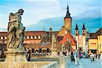 Old Bridge over Main River with St Kilian's Abbey, Wurzburg, Lower Franconia, Bavaria, Germany