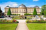 Wuerzburg Residence and Hofgarten (court gardens), Wuerzburg, Lower Franconia, Bavaria, Germany