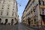 Low Angle View of Sackstrasse Street Scene, Graz, Styria, Austria