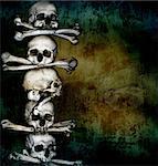 Grunge background with human skulls and bones