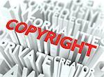 Copyright Background Design. Word Cloud Concept.