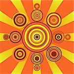 Retro style sun shape on sunburst background
