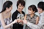 Friends having champagne