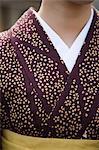 Close up of person wearing a kimono