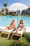 Two women sunbathing on sunloungers reading magazines
