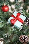 Gift on a christmas tree