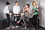 Rock band practising
