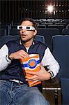 Man watching a movie