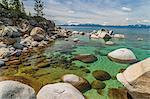 Rocks at edge of lake, Lake Tahoe, USA