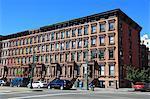 Street scene, Brownstones, Harlem, Manhattan, New York City, United States of America, North America