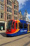 City tram, Sheffield, South Yorkshire, Yorkshire, England, United Kingdom, Europe